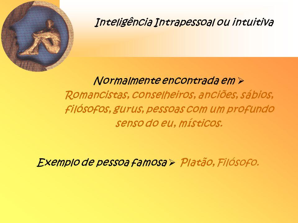 Inteligência Intrapessoal ou intuitiva Normalmente encontrada em Romancistas, conselheiros, anciões, sábios, filósofos, gurus, pessoas com um profundo