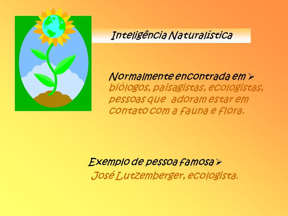 Inteligência Naturalística Normalmente encontrada em biólogos, paisagistas, ecologistas, pessoas que adoram estar em contato com a fauna e flora. Exem