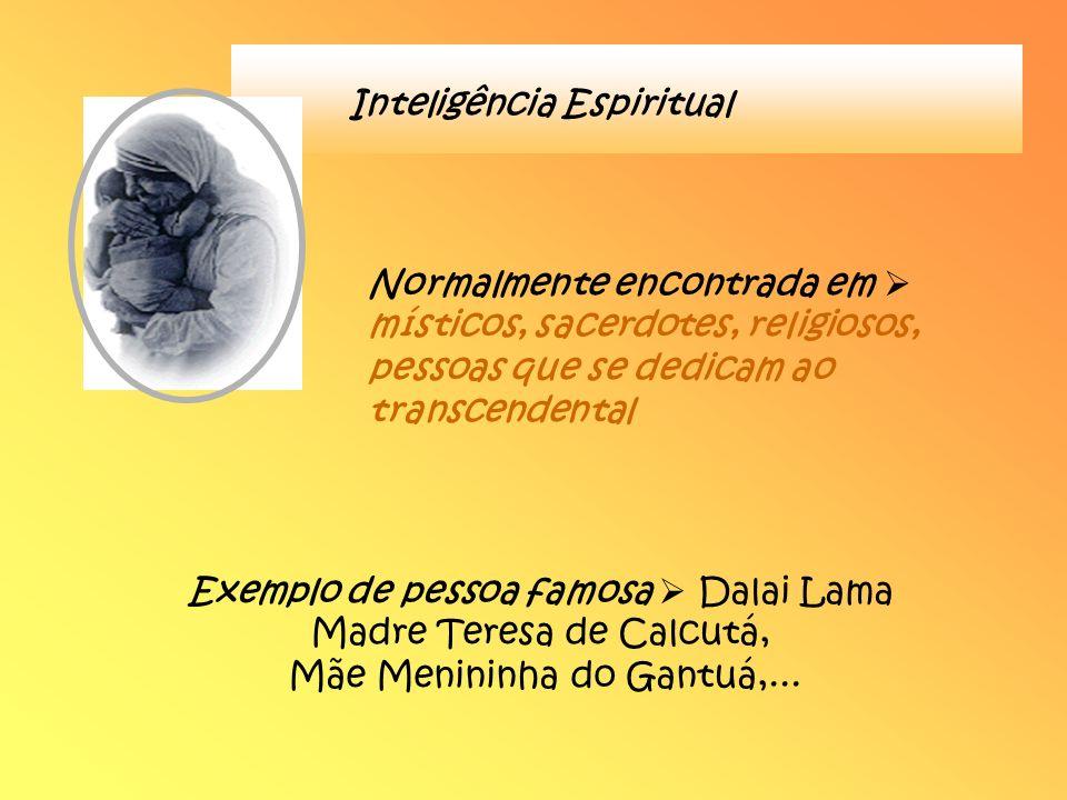 Inteligência Espiritual Normalmente encontrada em místicos, sacerdotes, religiosos, pessoas que se dedicam ao transcendental Exemplo de pessoa famosa