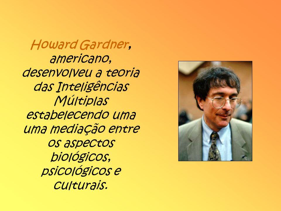 Howard Gardner, americano, desenvolveu a teoria das Inteligências Múltiplas estabelecendo uma uma mediação entre os aspectos biológicos, psicológicos