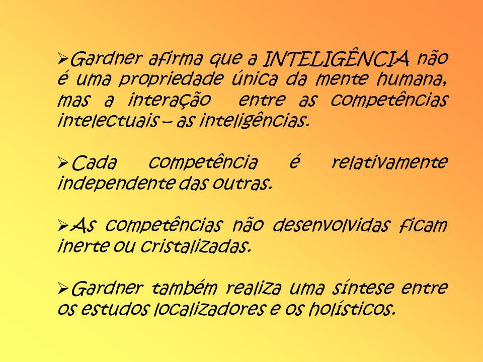 Gardner afirma que a INTELIGÊNCIA não é uma propriedade única da mente humana, mas a interação entre as competências intelectuais – as inteligências.