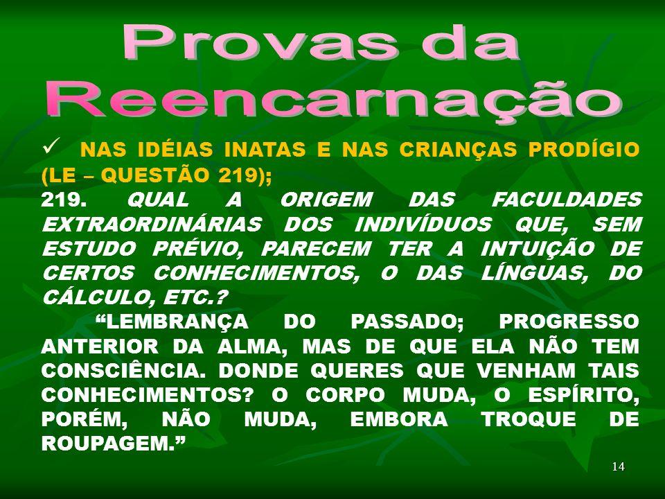 14 NAS IDÉIAS INATAS E NAS CRIANÇAS PRODÍGIO (LE – QUESTÃO 219); 219.