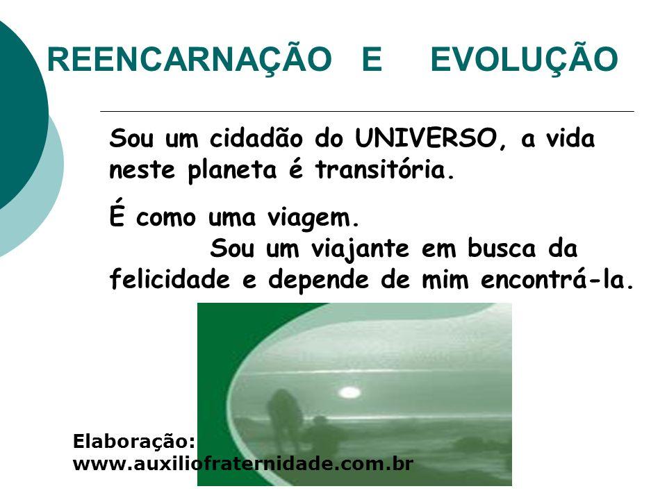 REENCARNAÇÃO E EVOLUÇÃO Sou um cidadão do UNIVERSO, a vida neste planeta é transitória. É como uma viagem. Sou um viajante em busca da felicidade e de