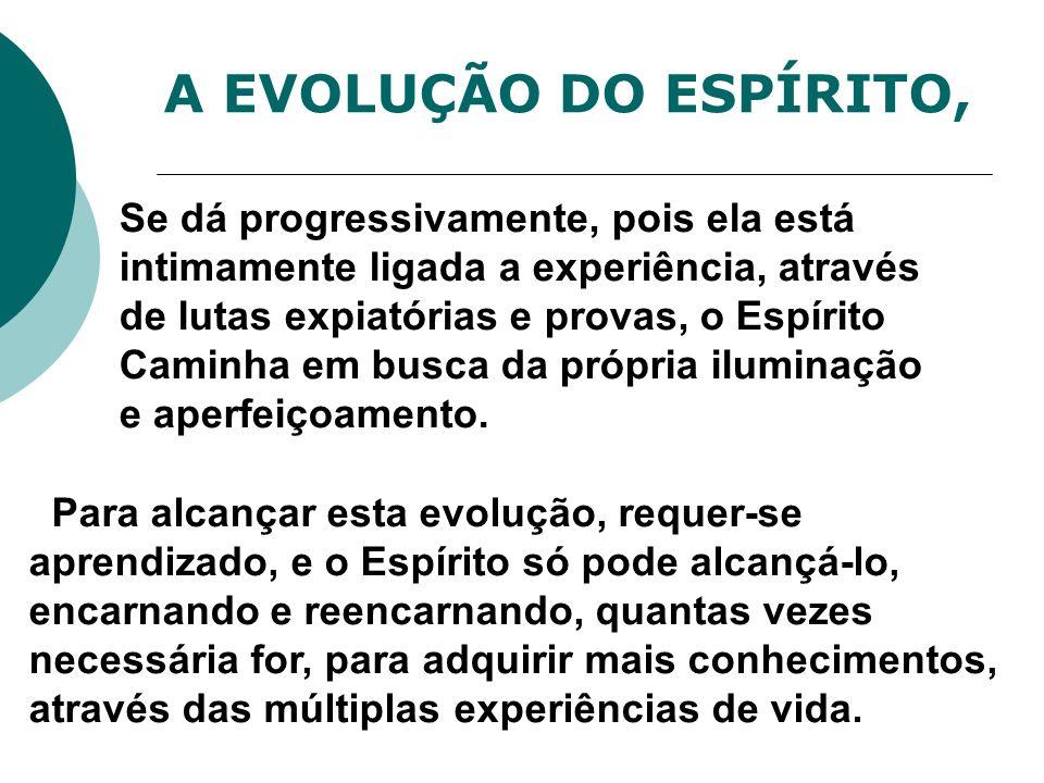 A EVOLUÇÃO DO ESPÍRITO, Se dá progressivamente, pois ela está intimamente ligada a experiência, através de lutas expiatórias e provas, o Espírito Cami