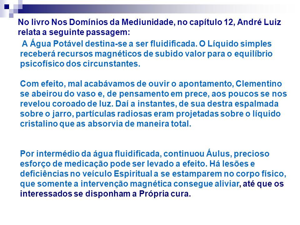 No livro Nos Domínios da Mediunidade, no capítulo 12, André Luiz relata a seguinte passagem: A Água Potável destina-se a ser fluidificada. O Líquido s