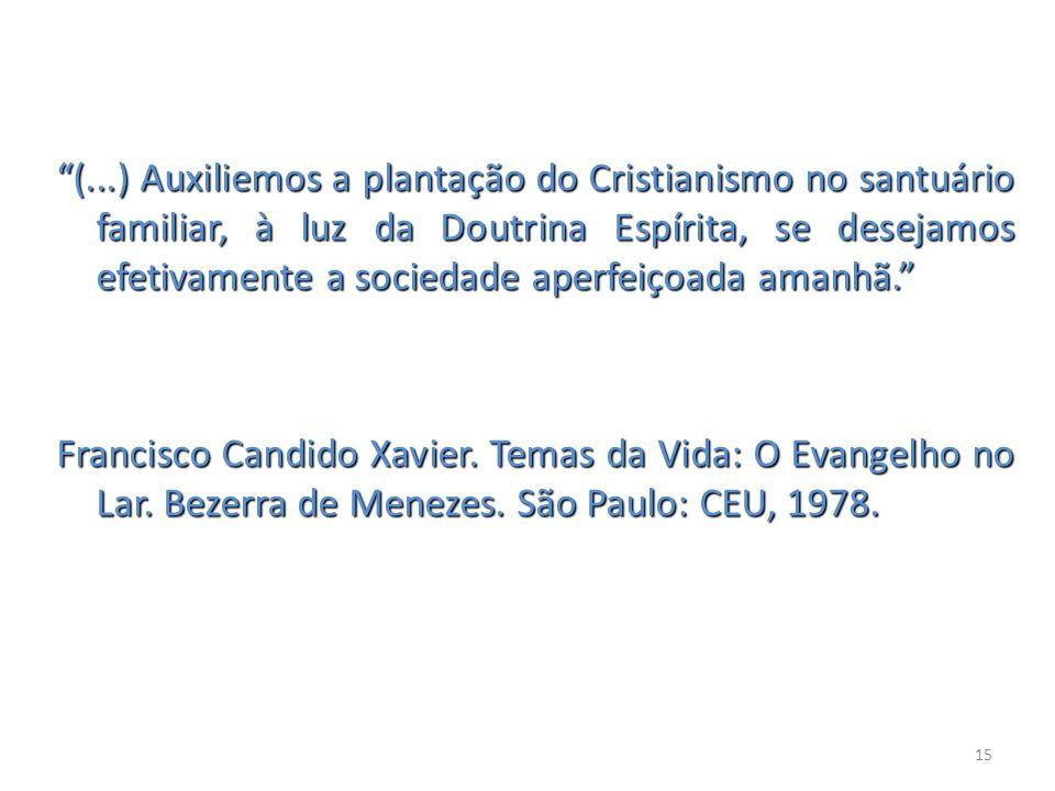(...) Auxiliemos a plantação do Cristianismo no santuário familiar, à luz da Doutrina Espírita, se desejamos efetivamente a sociedade aperfeiçoada ama