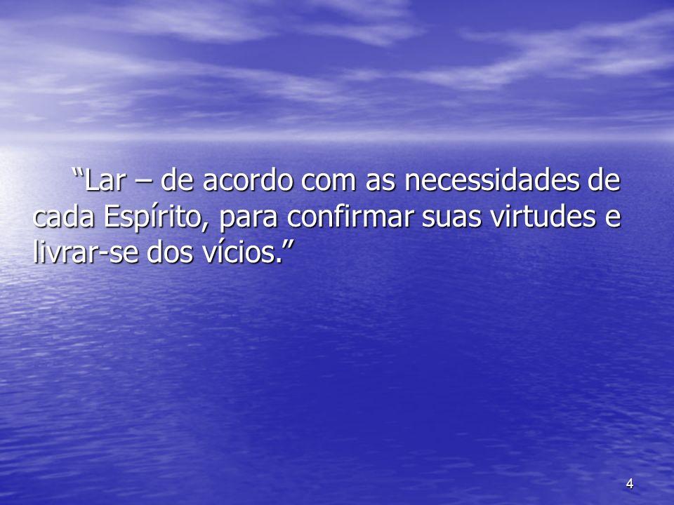 4 Lar – de acordo com as necessidades de cada Espírito, para confirmar suas virtudes e livrar-se dos vícios. Lar – de acordo com as necessidades de ca