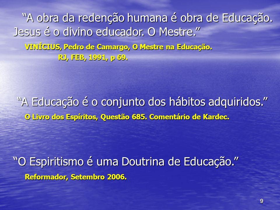 9 A obra da redenção humana é obra de Educação. Jesus é o divino educador. O Mestre. A obra da redenção humana é obra de Educação. Jesus é o divino ed