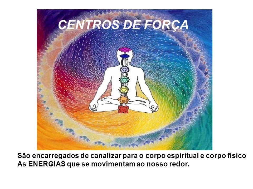 CENTROS DE FORÇA São encarregados de canalizar para o corpo espiritual e corpo físico As ENERGIAS que se movimentam ao nosso redor.