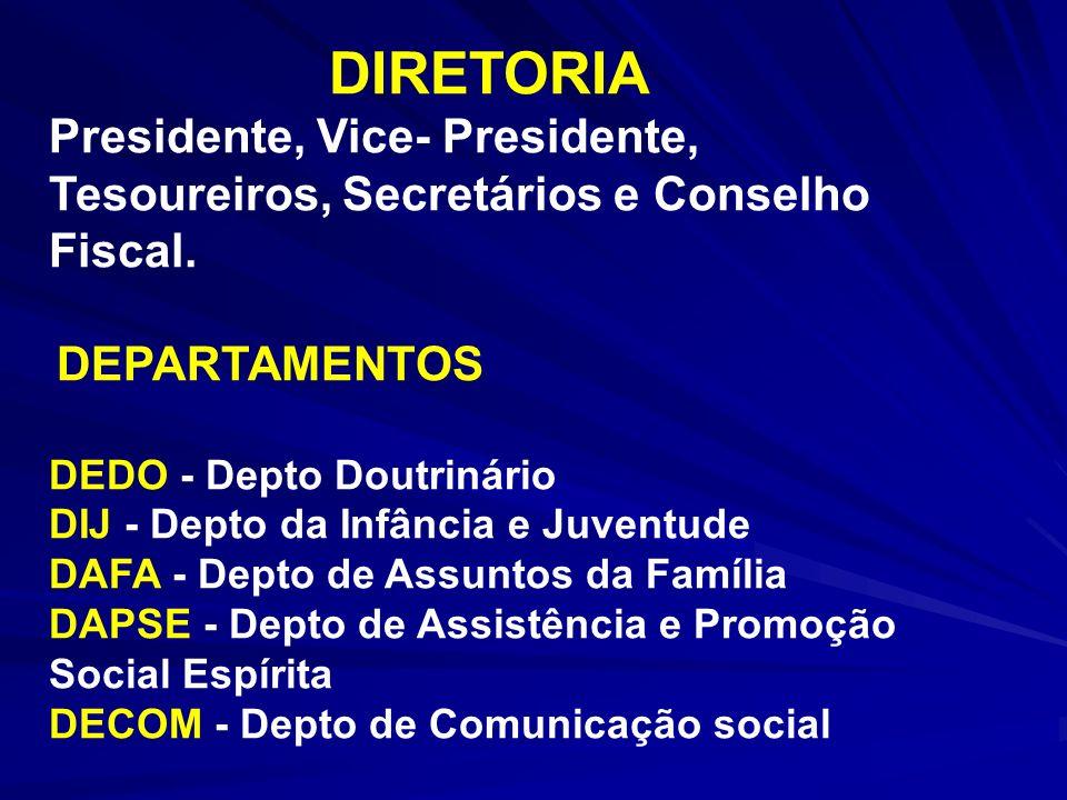 DIRETORIA Presidente, Vice- Presidente, Tesoureiros, Secretários e Conselho Fiscal. DEPARTAMENTOS DEDO - Depto Doutrinário DIJ - Depto da Infância e J