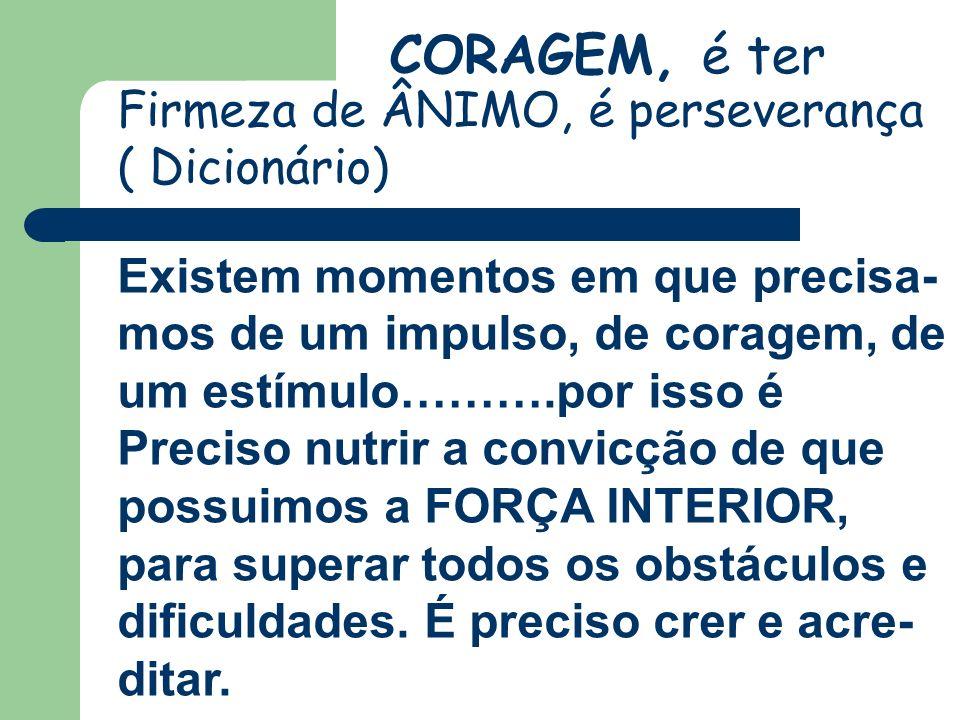CORAGEM, é ter Firmeza de ÂNIMO, é perseverança ( Dicionário) Existem momentos em que precisa- mos de um impulso, de coragem, de um estímulo……….por is