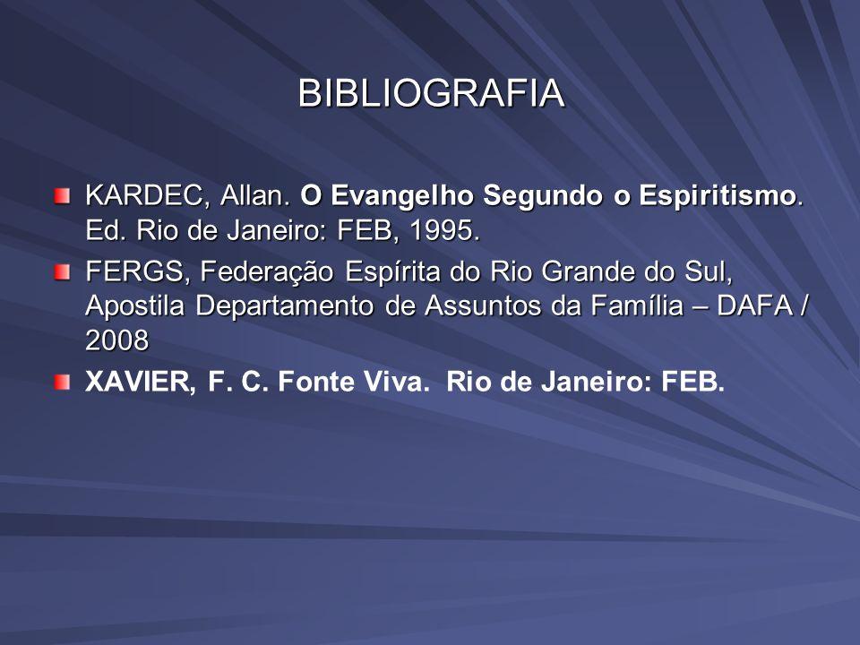 BIBLIOGRAFIA KARDEC, Allan. O Evangelho Segundo o Espiritismo. Ed. Rio de Janeiro: FEB, 1995. FERGS, Federação Espírita do Rio Grande do Sul, Apostila