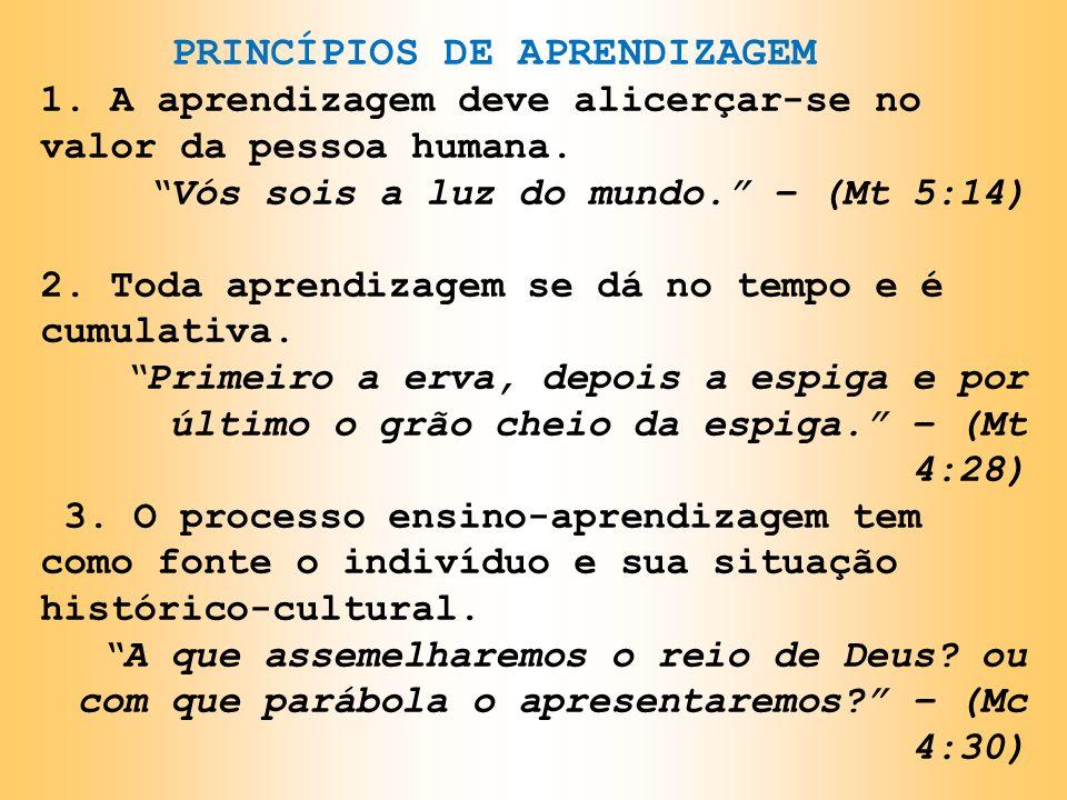 PRINCÍPIOS DE APRENDIZAGEM 1. A aprendizagem deve alicerçar-se no valor da pessoa humana. Vós sois a luz do mundo. – (Mt 5:14) 2. Toda aprendizagem se