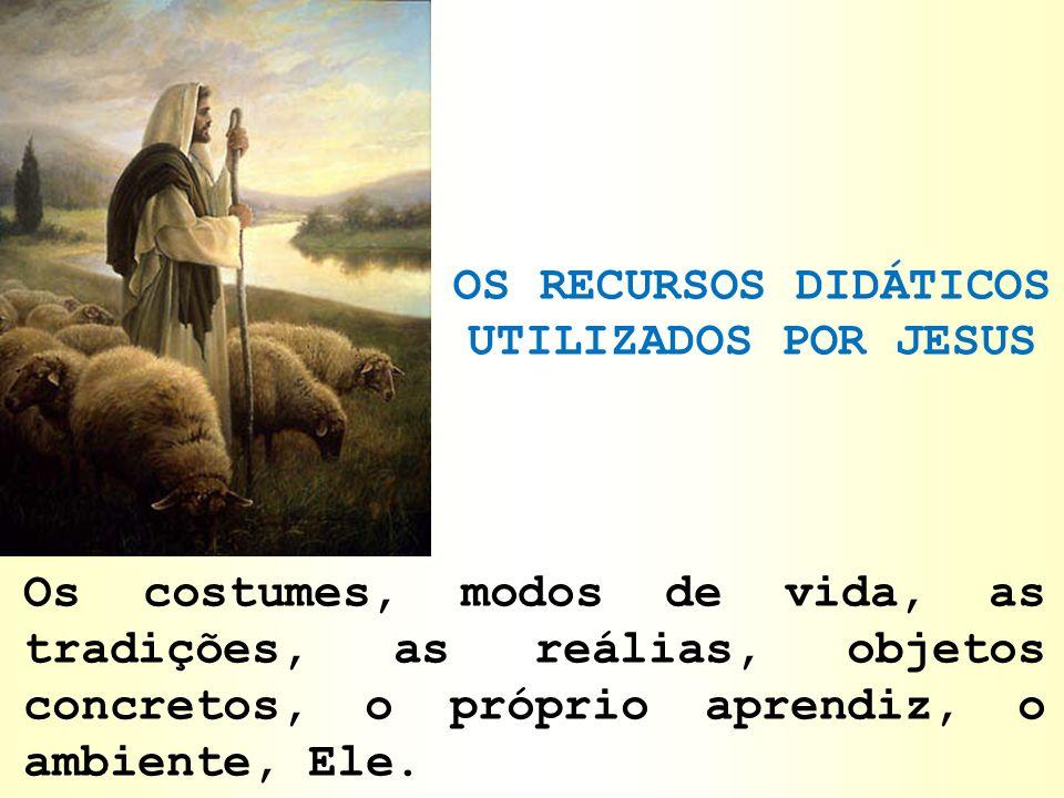 OS RECURSOS DIDÁTICOS UTILIZADOS POR JESUS Os costumes, modos de vida, as tradições, as reálias, objetos concretos, o próprio aprendiz, o ambiente, El