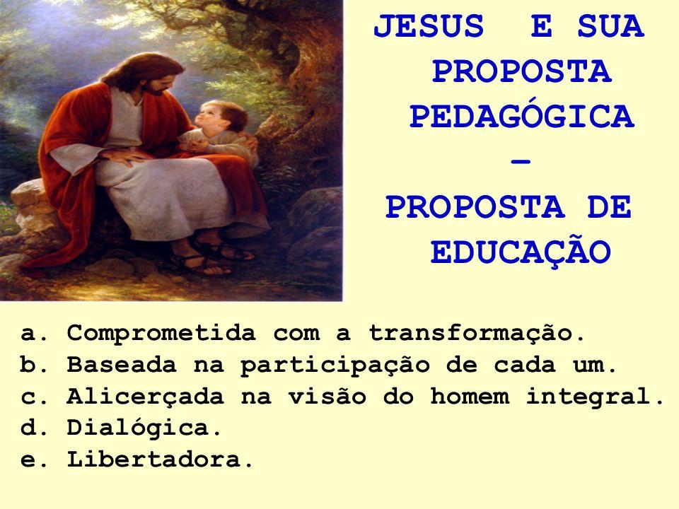 JESUS E SUA PROPOSTA PEDAGÓGICA – PROPOSTA DE EDUCAÇÃO a. Comprometida com a transformação. b. Baseada na participação de cada um. c. Alicerçada na vi