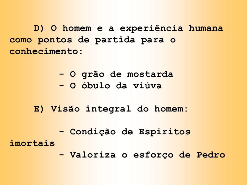 D) O homem e a experiência humana como pontos de partida para o conhecimento: - O grão de mostarda - O óbulo da viúva E) Visão integral do homem: - Co