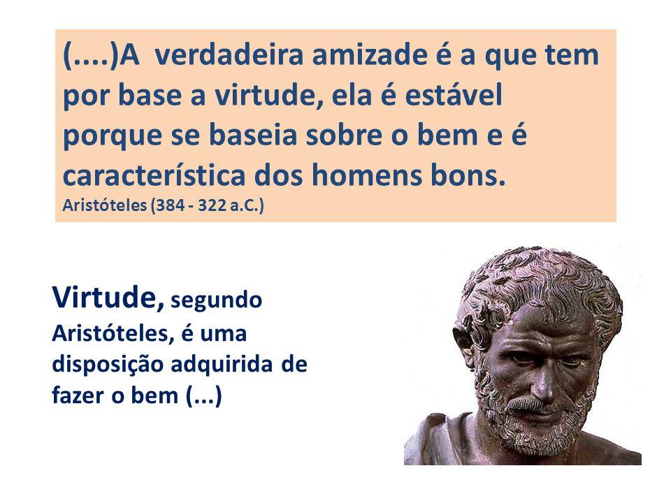 (....)A verdadeira amizade é a que tem por base a virtude, ela é estável porque se baseia sobre o bem e é característica dos homens bons. Aristóteles