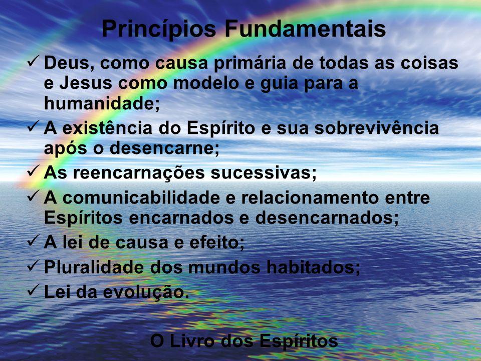 Princípios Fundamentais Deus, como causa primária de todas as coisas e Jesus como modelo e guia para a humanidade; A existência do Espírito e sua sobr