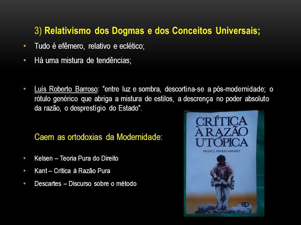 3) Relativismo dos Dogmas e dos Conceitos Universais; Tudo é efêmero, relativo e eclético; Há uma mistura de tendências; Luís Roberto Barroso:
