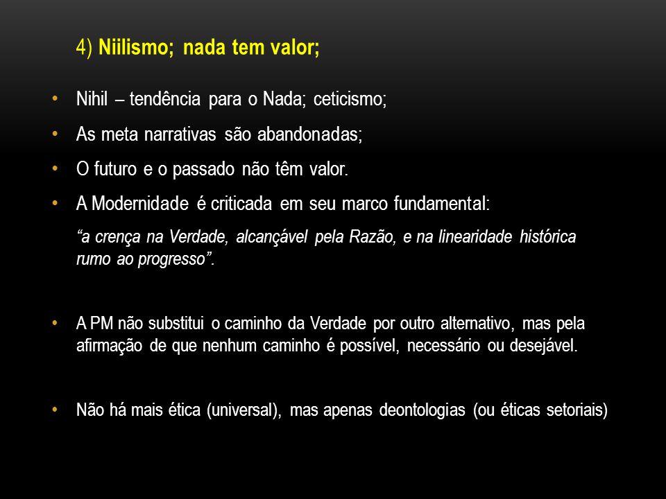 4) Niilismo; nada tem valor; Nihil – tendência para o Nada; ceticismo; As meta narrativas são abandonadas; O futuro e o passado não têm valor. A Moder