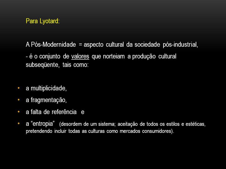 Para Lyotard: A Pós-Modernidade = aspecto cultural da sociedade pós-industrial, - é o conjunto de valores que norteiam a produção cultural subseqüente