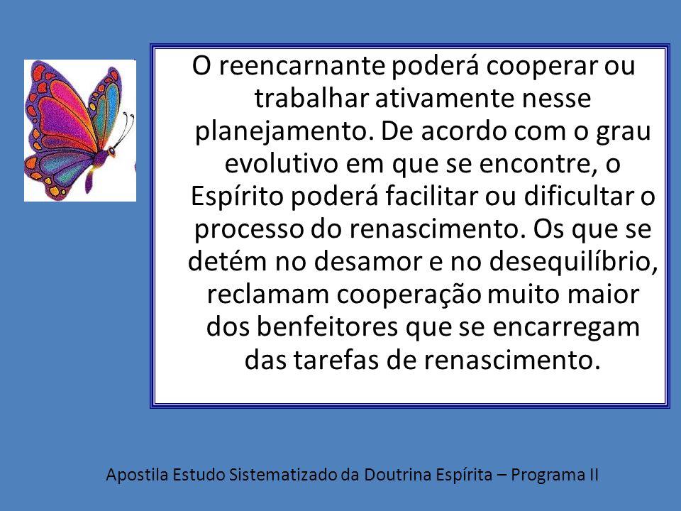 O reencarnante poderá cooperar ou trabalhar ativamente nesse planejamento. De acordo com o grau evolutivo em que se encontre, o Espírito poderá facili