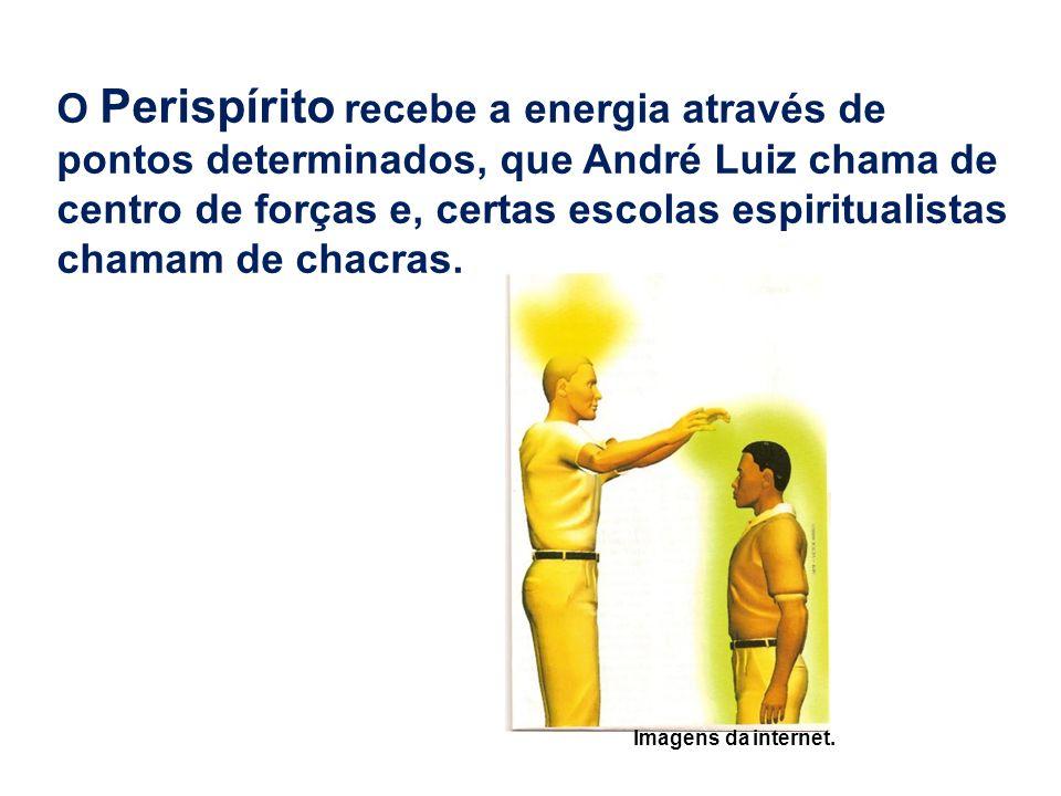 O Perispírito recebe a energia através de pontos determinados, que André Luiz chama de centro de forças e, certas escolas espiritualistas chamam de ch