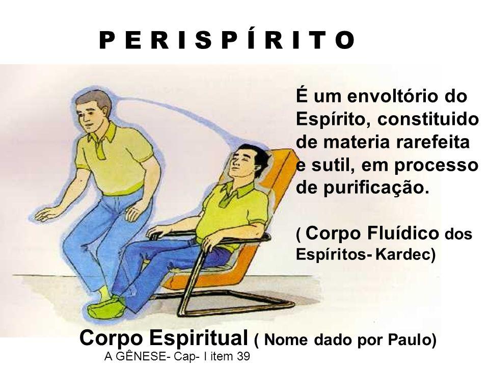 P E R I S P Í R I T O Corpo Espiritual ( Nome dado por Paulo) A GÊNESE- Cap- I item 39 É um envoltório do Espírito, constituido de materia rarefeita e