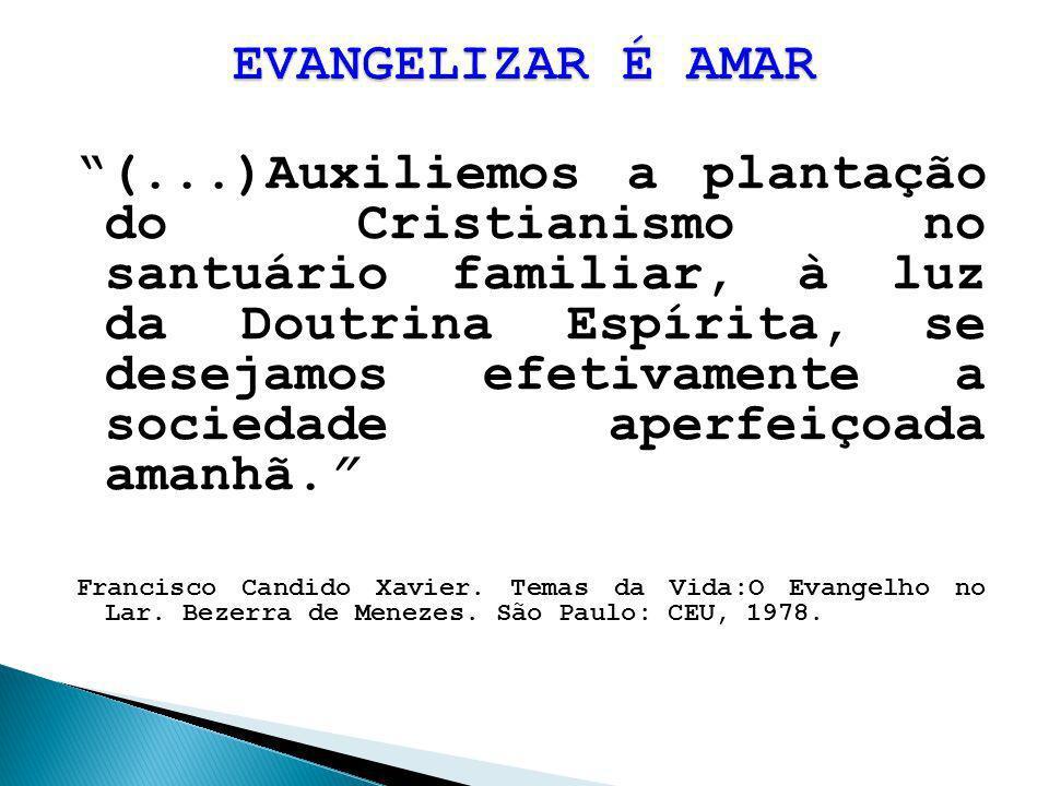 (...)Auxiliemos a plantação do Cristianismo no santuário familiar, à luz da Doutrina Espírita, se desejamos efetivamente a sociedade aperfeiçoada aman