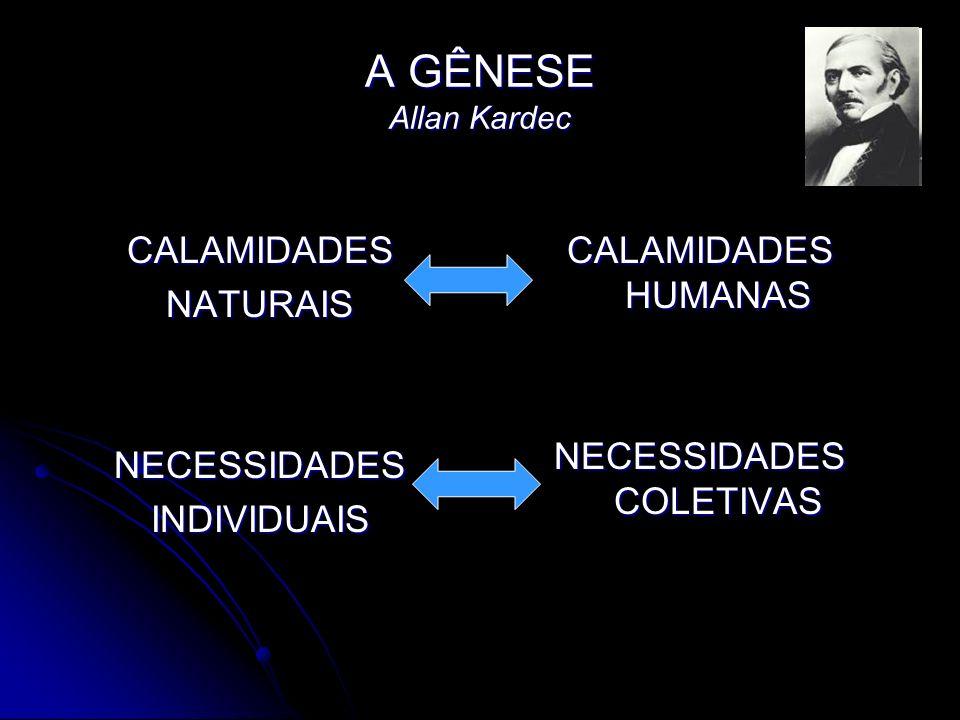 A GÊNESE Allan Kardec CALAMIDADESNATURAISNECESSIDADESINDIVIDUAIS CALAMIDADES HUMANAS NECESSIDADES COLETIVAS