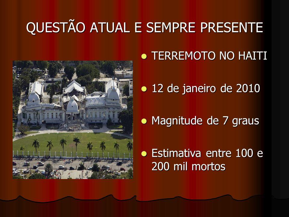 QUESTÃO ATUAL E SEMPRE PRESENTE TERREMOTO NO HAITI TERREMOTO NO HAITI 12 de janeiro de 2010 12 de janeiro de 2010 Magnitude de 7 graus Magnitude de 7