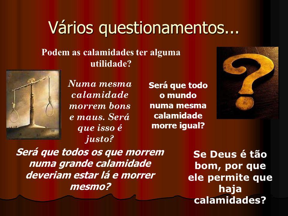 Vários questionamentos... Podem as calamidades ter alguma utilidade? Se Deus é tão bom, por que ele permite que haja calamidades? Será que todos os qu