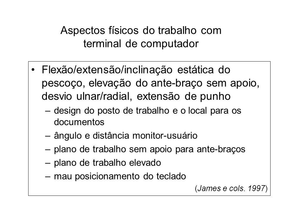 Aspectos físicos do trabalho com terminal de computador Flexão/extensão/inclinação estática do pescoço, elevação do ante-braço sem apoio, desvio ulnar