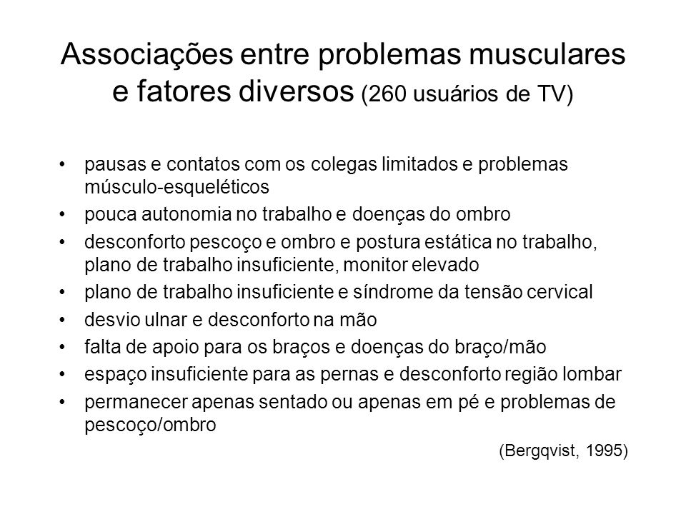 Associações entre problemas musculares e fatores diversos (260 usuários de TV) pausas e contatos com os colegas limitados e problemas músculo-esquelét