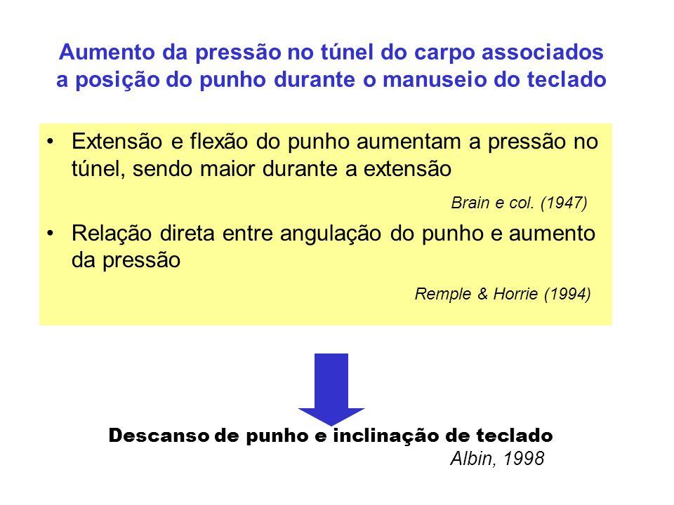 Aumento da pressão no túnel do carpo associados a posição do punho durante o manuseio do teclado Extensão e flexão do punho aumentam a pressão no túne