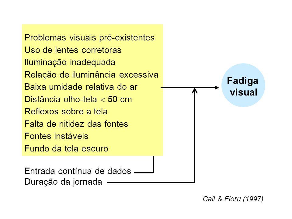 Problemas visuais pré-existentes Uso de lentes corretoras Iluminação inadequada Relação de iluminância excessiva Baixa umidade relativa do ar Distânci