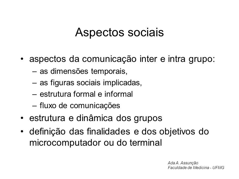 Aspectos sociais aspectos da comunicação inter e intra grupo: –as dimensões temporais, –as figuras sociais implicadas, –estrutura formal e informal –f