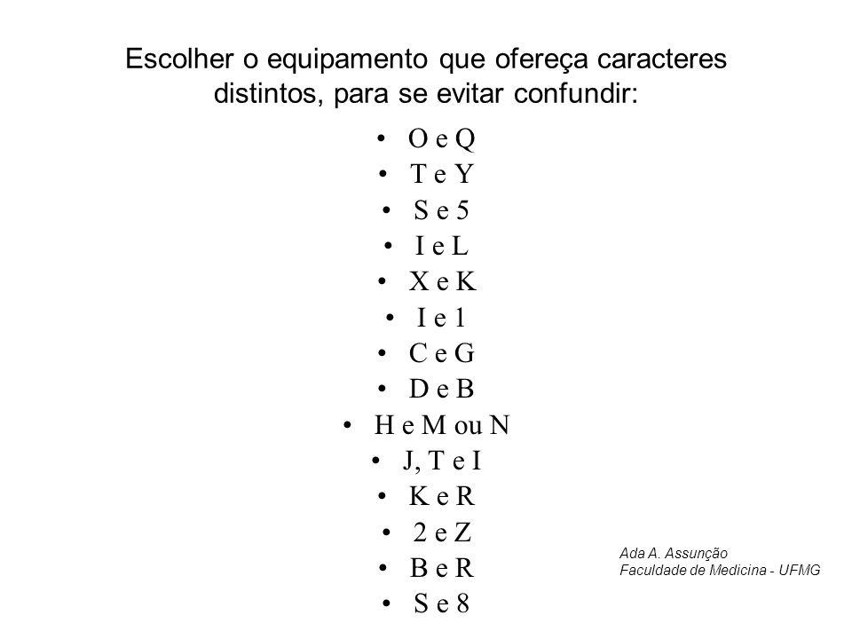 Escolher o equipamento que ofereça caracteres distintos, para se evitar confundir: O e Q T e Y S e 5 I e L X e K I e 1 C e G D e B H e M ou N J, T e I