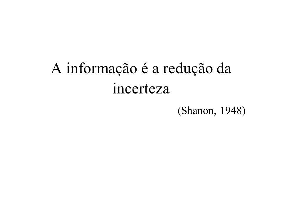 A informação é a redução da incerteza (Shanon, 1948)