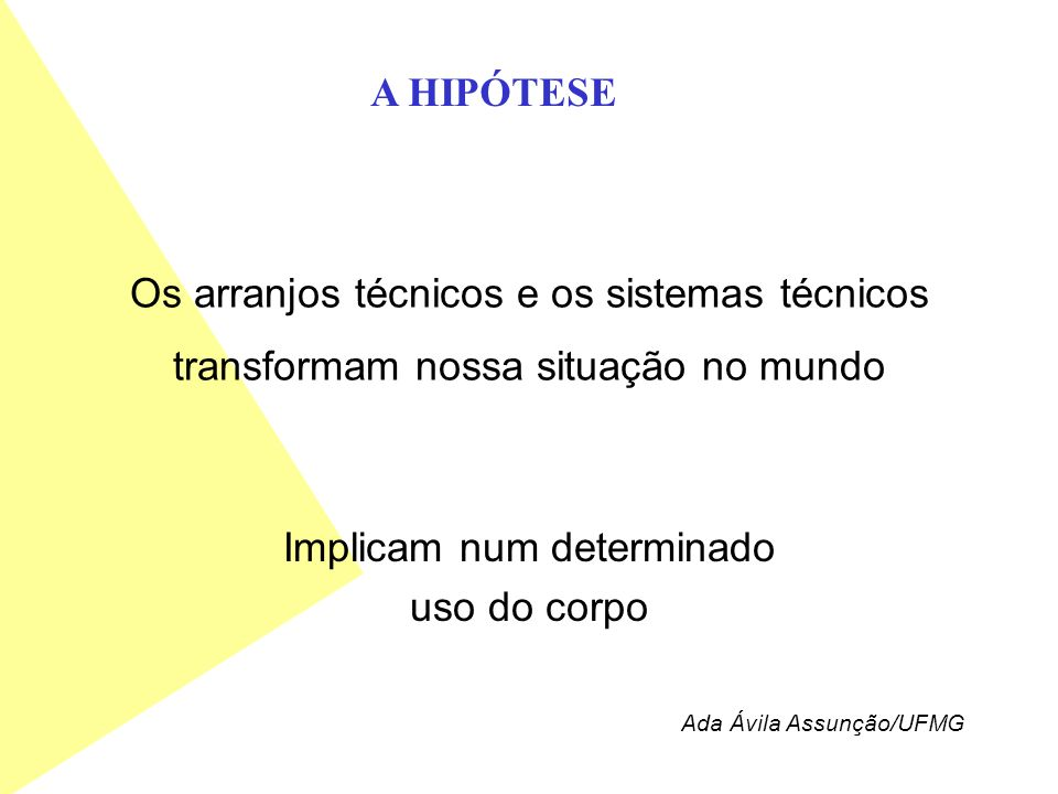Os arranjos técnicos e os sistemas técnicos transformam nossa situação no mundo Implicam num determinado uso do corpo A HIPÓTESE Ada Ávila Assunção/UF
