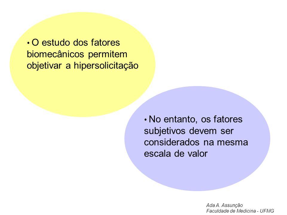 Musculo-tendinoso Funcional Osteo-articular Compressão Cervicalgias Artroses Tendinites Síndrome do desfiladeiro torácico Artrose Síndrome do Túnel do cárpio Síndrome de Guyon Músculos Ligamentos Tendões Tendinites Discos, articulações Nervo ciático Meniscos Higromas Principais localizações das Lesões por Esforços Repetitivos Adaptado de Meyer & Dyevre Ada A.