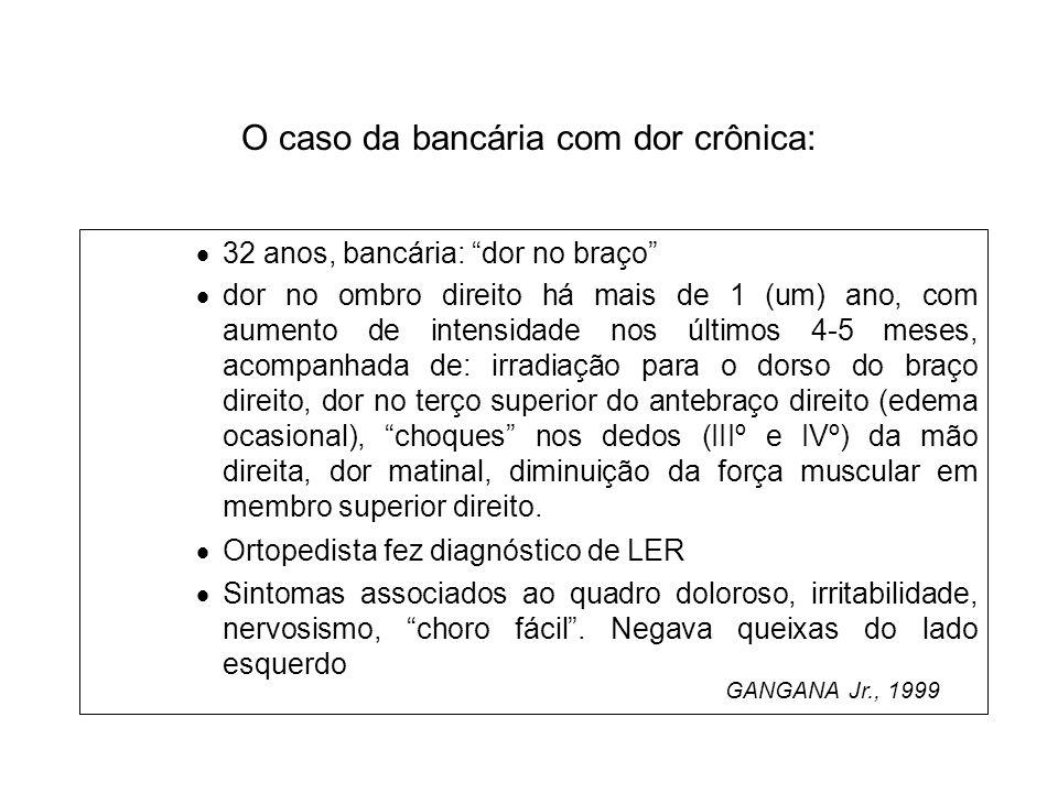 O caso da bancária com dor crônica: 32 anos, bancária: dor no braço dor no ombro direito há mais de 1 (um) ano, com aumento de intensidade nos últimos