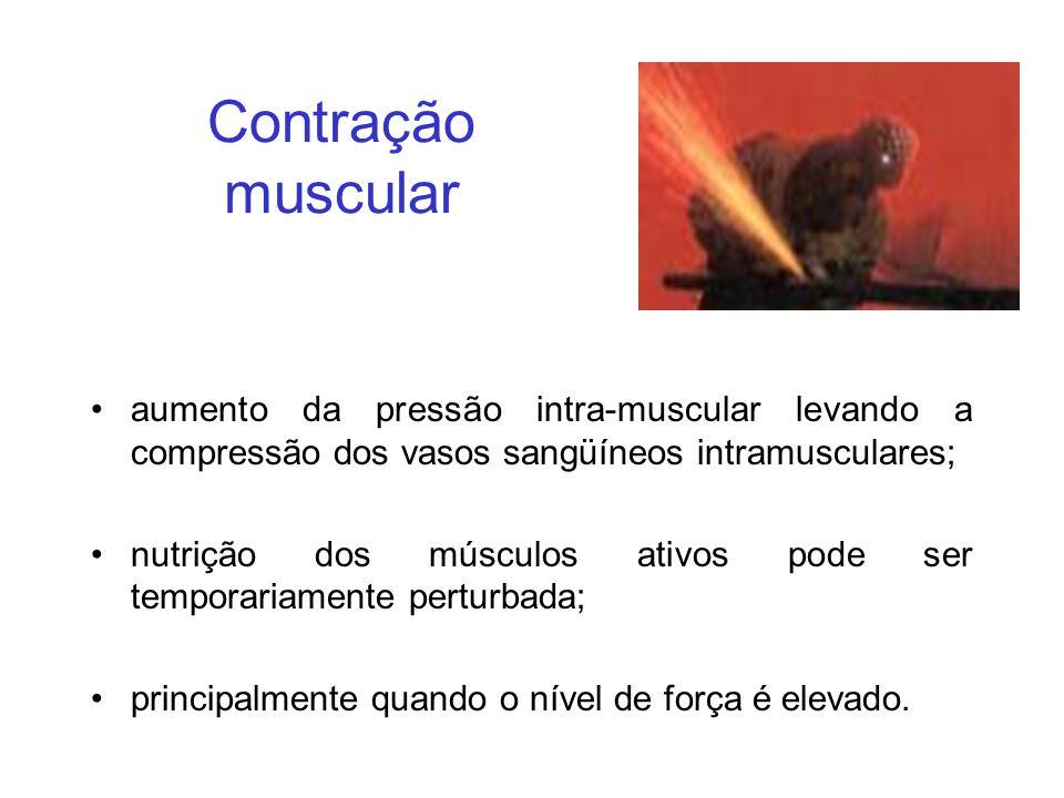 Contração muscular aumento da pressão intra-muscular levando a compressão dos vasos sangüíneos intramusculares; nutrição dos músculos ativos pode ser