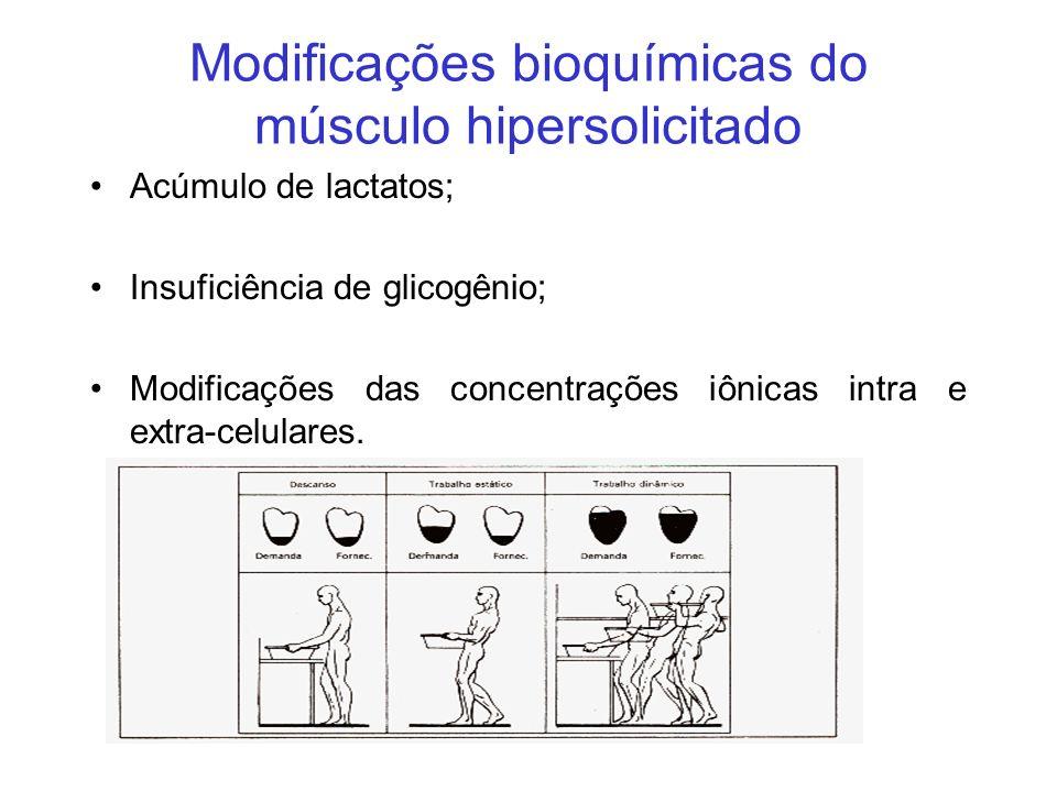 Modificações bioquímicas do músculo hipersolicitado Acúmulo de lactatos; Insuficiência de glicogênio; Modificações das concentrações iônicas intra e e