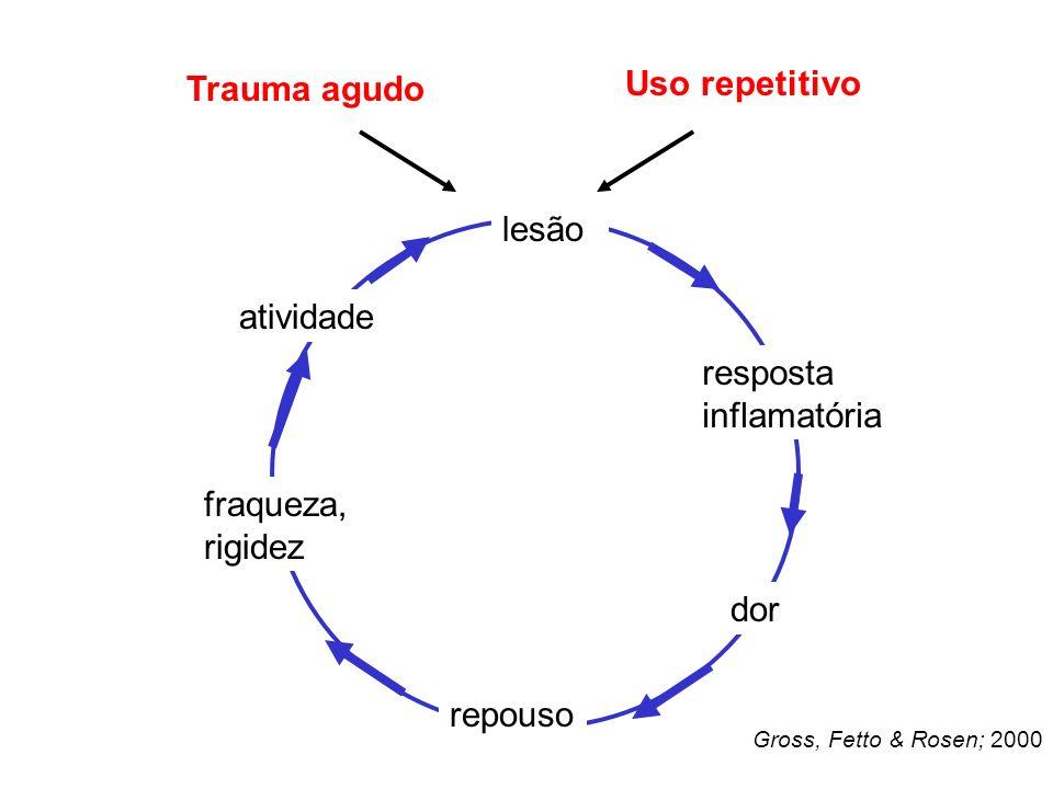 lesão resposta inflamatória dor repouso fraqueza, rigidez atividade Trauma agudo Uso repetitivo Gross, Fetto & Rosen; 2000