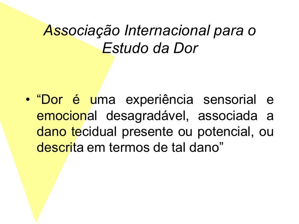 Associação Internacional para o Estudo da Dor Dor é uma experiência sensorial e emocional desagradável, associada a dano tecidual presente ou potencia