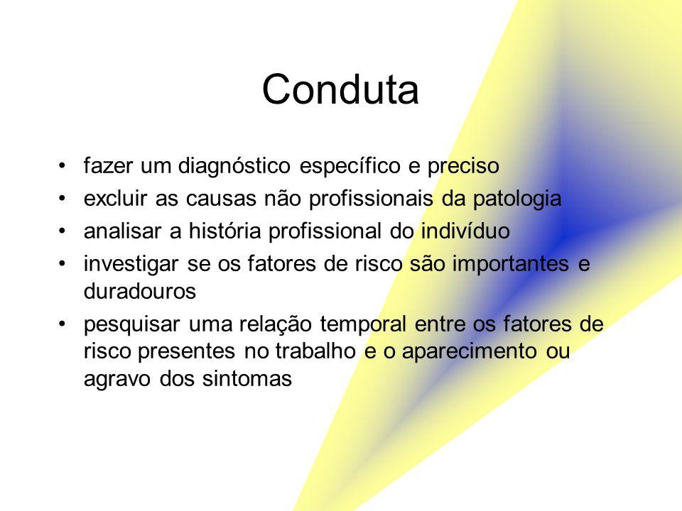 Conduta fazer um diagnóstico específico e preciso excluir as causas não profissionais da patologia analisar a história profissional do indivíduo inves