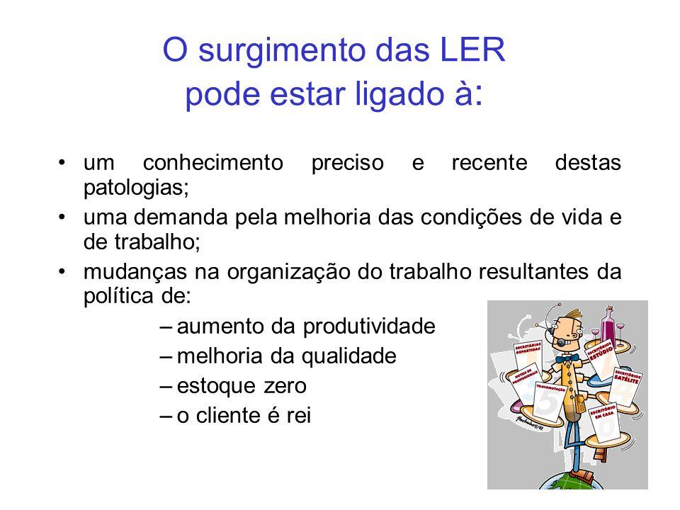 O surgimento das LER pode estar ligado à : um conhecimento preciso e recente destas patologias; uma demanda pela melhoria das condições de vida e de t