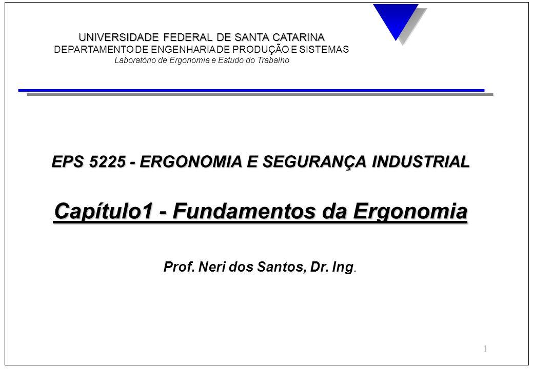 1 EPS 5225 - ERGONOMIA E SEGURANÇA INDUSTRIAL Capítulo1 - Fundamentos da Ergonomia Prof. Neri dos Santos, Dr. Ing. UNIVERSIDADE FEDERAL DE SANTA CATAR