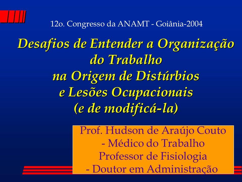 Desafios de Entender a Organização do Trabalho na Origem de Distúrbios e Lesões Ocupacionais (e de modificá-la) Prof. Hudson de Araújo Couto - Médico